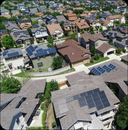 solar panels installed in suburban neighborhood